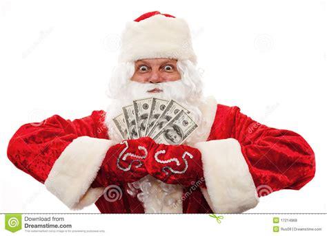 photos libres de droits santa claus with the money in the