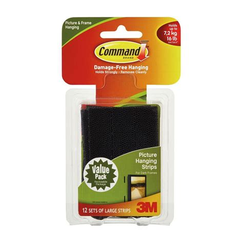 command large picture hanging strips white 12 sets of command large black picture hanging adhesive strips set