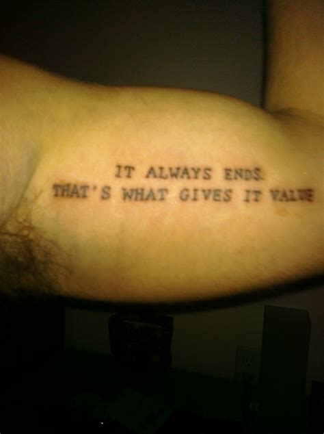 death quote tattoos it always ends contrariwise literary tattoos