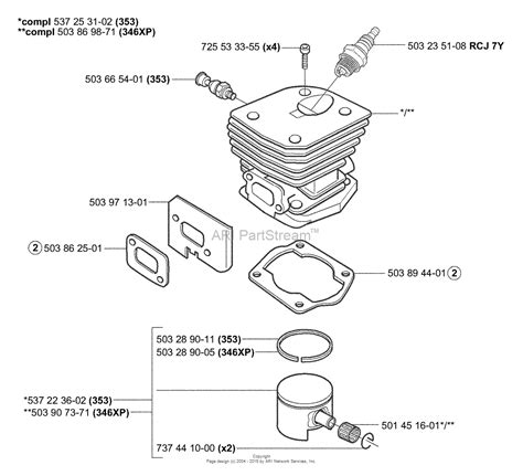 Rear Handle Assy Chainsaw 588 New West husqvarna 353 2004 03 parts diagram for piston cylinder