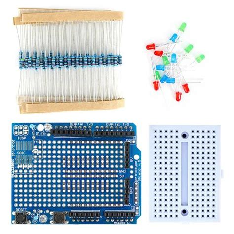 breadboard resistor kit mini breadboard prototype shield kit w resistor led for arduino