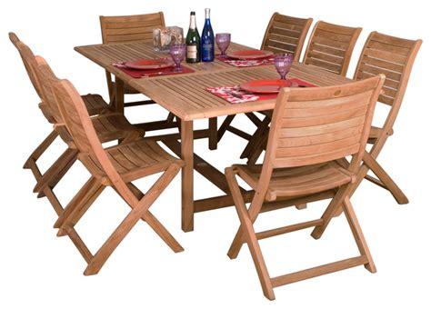contemporary patio dining set dublin 9 piece teak extendable rectangular patio dining