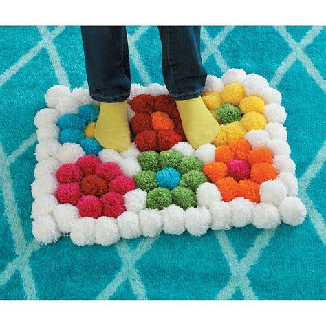yarn pom pom rug pom pom flower rug pinteres