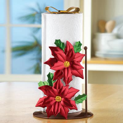 holiday poinsettia paper towel holder from collections etc