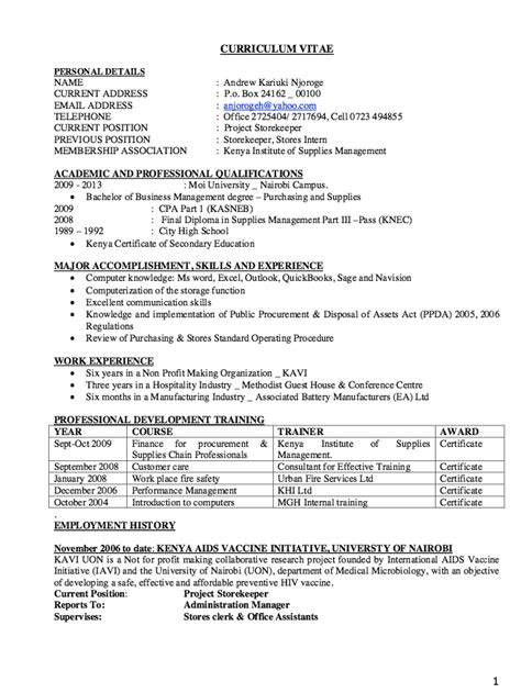 Cover Letter For Store Keeper Storekeeper Resume Exle Resumes Design