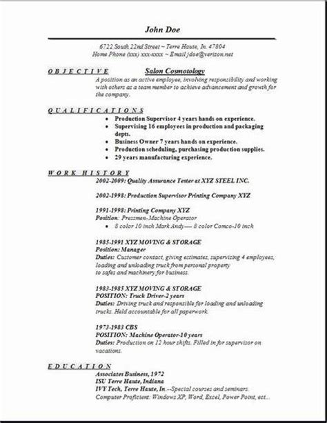 cosmetology resume objective statement exle free resume templates