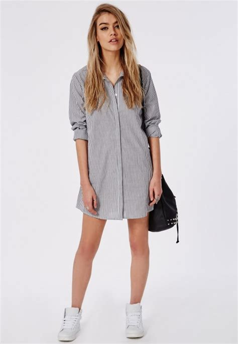 Boyfriend Striped Dress lyst missguided boyfriend shirt dress white navy stripe