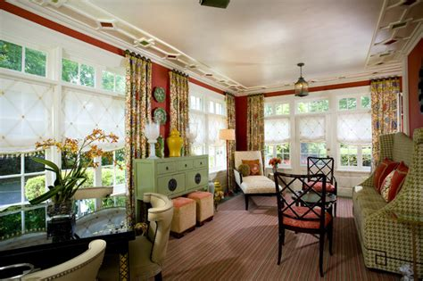 colorful sunroom eclectic family room  york