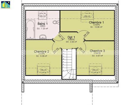 plan maison 3 chambres etage plan maison 80m2 3 chambres etage