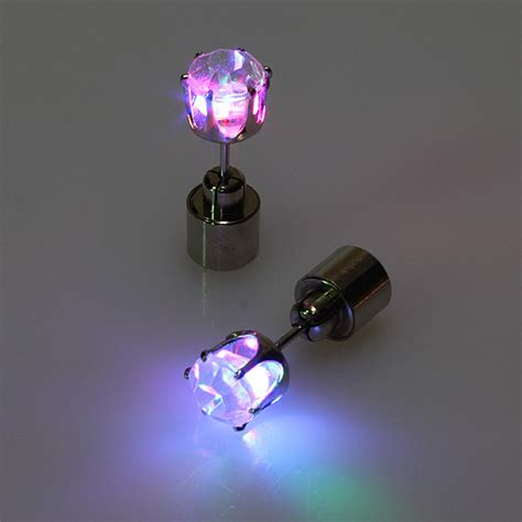 1pc Light Up Led Earring Ear Stud Dance Party Accessories Light Up Earrings