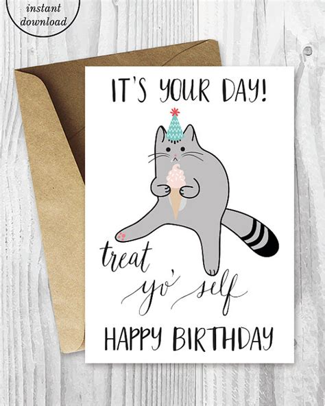 printable birthday cards with cats printable birthday cards treat yo self funny cat birthday