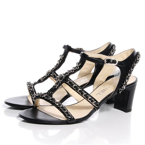 chanel sandals chanel lambskin gladiator chain sandals 39 black 66775