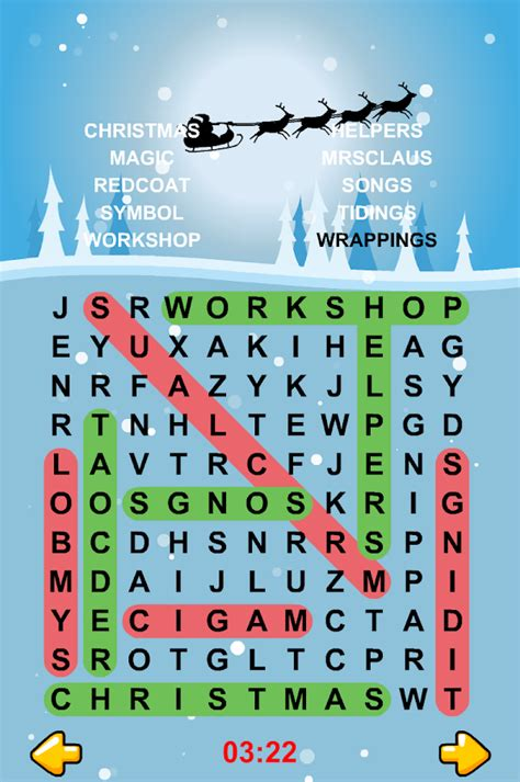 christmas words that start with n word search puzzles android apps on play