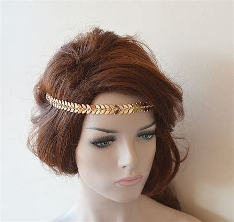 Vintage Leaf Wedding Hair Accessories by Bridal Gold Rhinestone Headband Leaf Wedding Headband