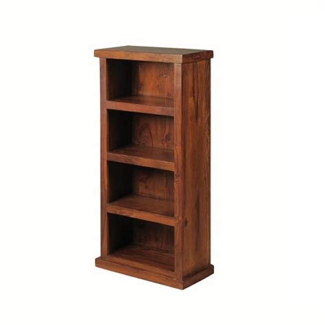 Athens Furniture by Athens Low Narrorw Bookcase In Solid Shesham Wood 27896