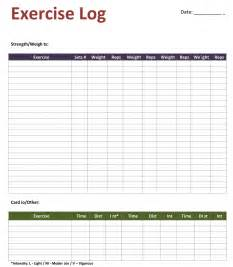 free exercise log template personal workout log template
