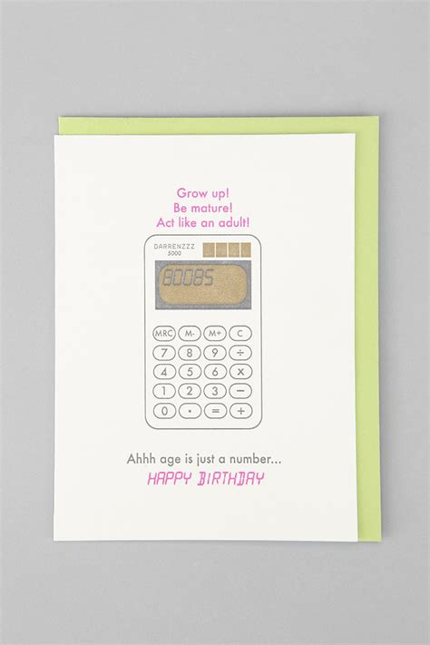 Gift Card Urban Outfitters - age is just a number birthday card