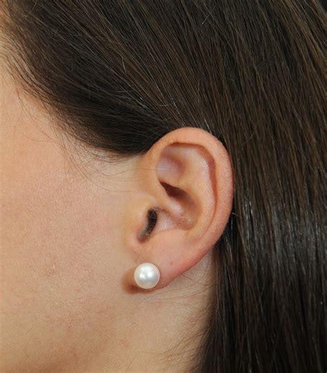 8mm white freshwater pearl stud earrings freshwater