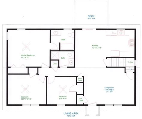 Make A House Floor Plan by Simple One Floor House Plans Ranch Home Plans House