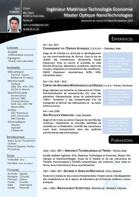Exemple Lettre De Motivation Ing Nieur cv exemple ingenieur en aeronautique ridefl