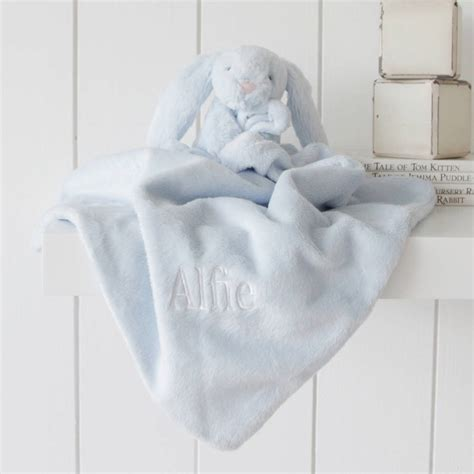 bunny comforter personalised blue bunny baby comforter by my 1st years