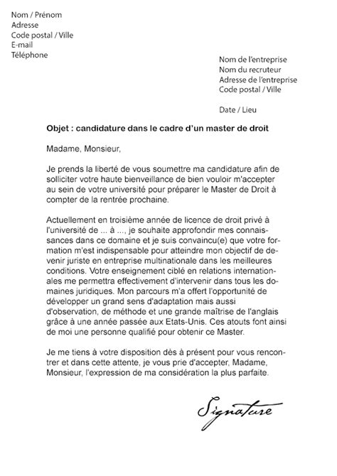 Exemple Lettre De Motivation Juriste Droit Social Lettre De Motivation Master Droit Mod 232 Le De Lettre