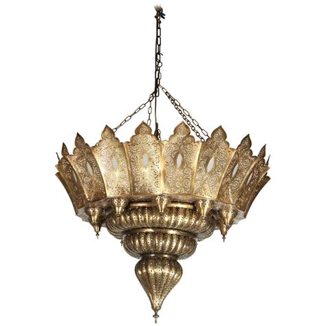 Moroccan Hanging Metal Chandelier At Large Moroccan Pierced Brass Chandelier At 1stdibs