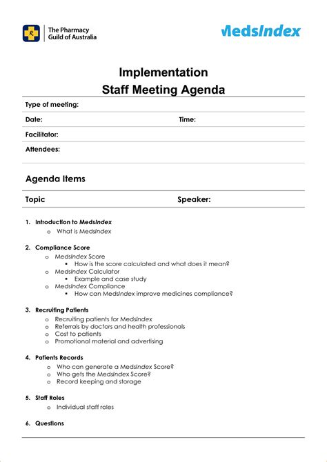 staff meeting agenda template 6 staff meeting agenda templateagenda template sle
