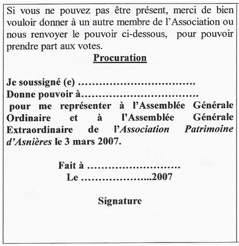 Exemple De Lettre De Procuration De Vote Modele Procuration De Vote Association Document