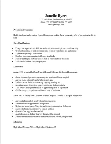 Resume Exles For Hospital Free Hospital Receptionist Resume Template Sle Ms Word