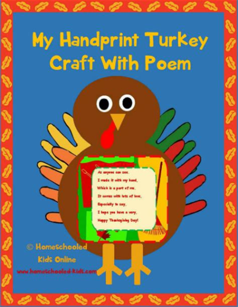 printable turkey handprint poem hand print turkey with poem