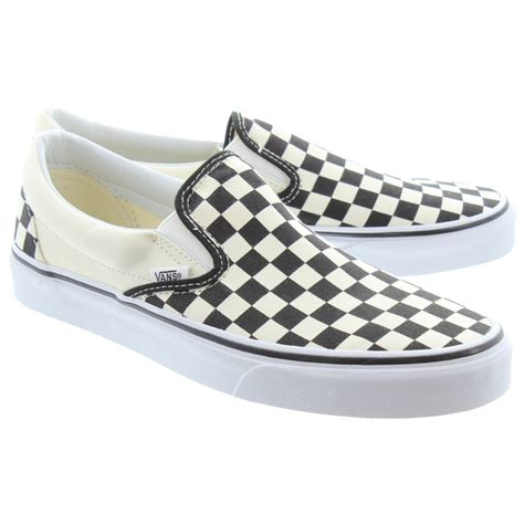 white company slippers vans checkerboard slip on shoes in black white in black white