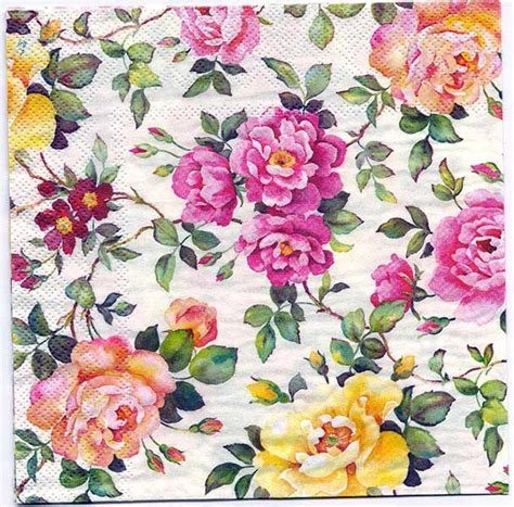 Decoupage Roses - napkin decoupage crafts flowers