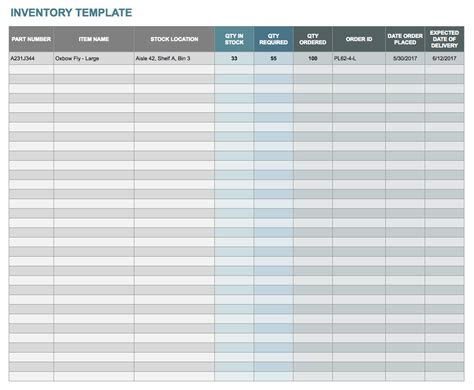 Free Google Docs And Spreadsheet Templates Smartsheet Inventory Template Sheets