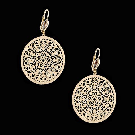 filigree jewelry 18kt gold layered filigree fashion earrings oro laminado
