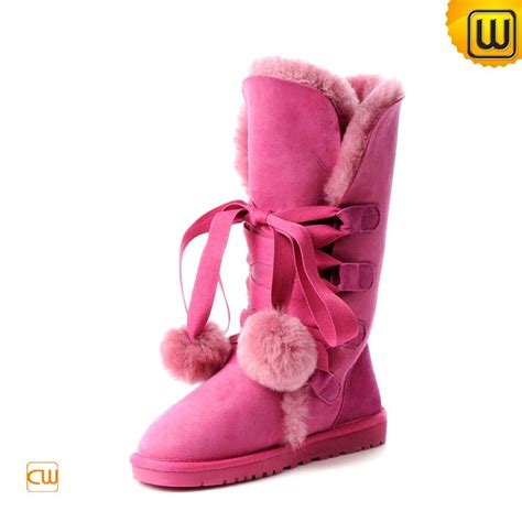 pink shearling sheepskin boots for cw314411