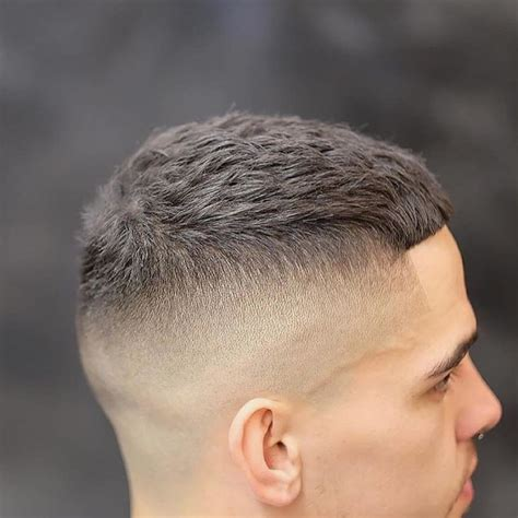 mens short textured crew cut  skin fade  bangs