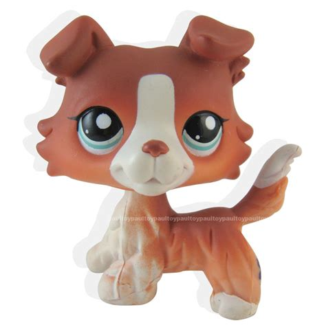pet shop puppies littlest pet shop brown collie puppy blue figure lps 1542 ebay