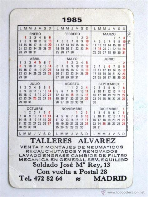 Calendario De 1985 Calendario De Bolsillo 1985 Coches Antiguos Comprar