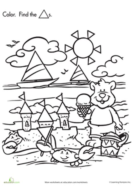 Printable Hidden Shapes Pictures | shape search baby bear at the beach worksheet