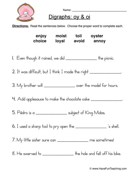Oi And Oy Worksheets by Oi Oy Digraphs Worksheet 1