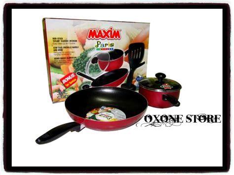Teflon Satu Set jual alat masak panci maxim teflon merah hitam