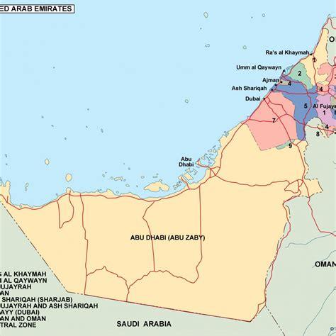 uae political map united arab emirates political map