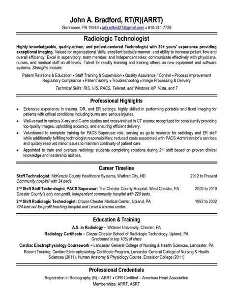 radiologic technologist resume exles radiologic technologist resume sle jennywashere
