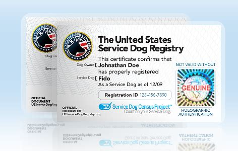 service animal id card template service certificate