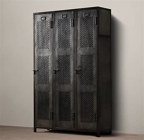 Perforated Cabinet Doors Vintage Locker 3 Door Perforated Cabinet