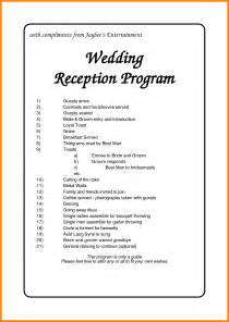 5 wedding reception order of events template grocery clerk