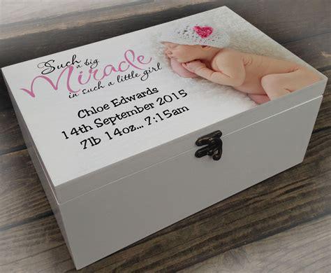 Box Baby 9a88 L Large White Personalised Wooden Memory Keepsake Box Baby