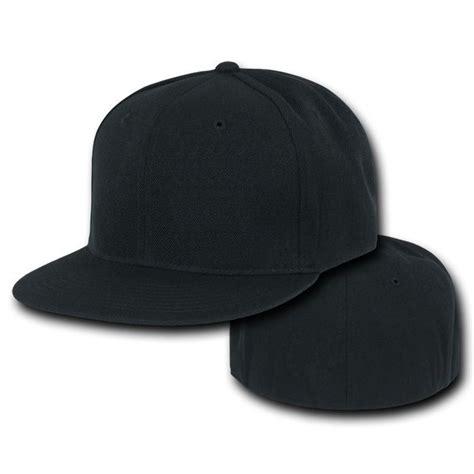 black fitted flat bill plain solid blank baseball cap