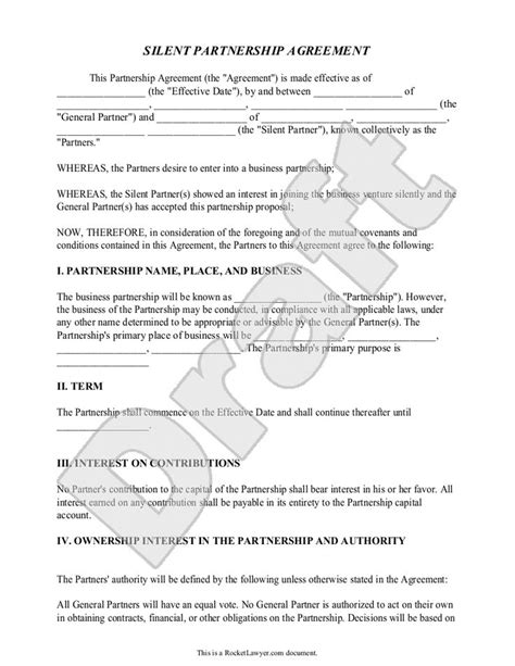 silent partnership agreement template  sample partnership agreement sample real state